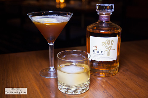 Mystery Plane (Plantation Pineapple Rum, Averna, Aperol, Blanc Vermouth, Fresh Lemon) and Hibiki 12-Year Japanese whiskey | by thewanderingeater