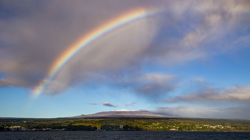 maunakea hilo hawaii bigisland bay rainbow snow snowy sunrise