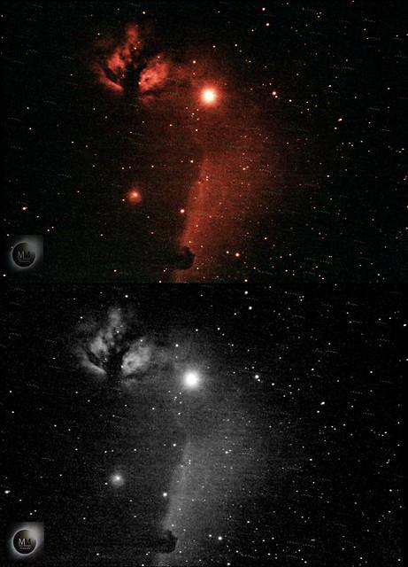 Flame & Horsehead Nebula in H-alpha (Test Run) 27/12/17