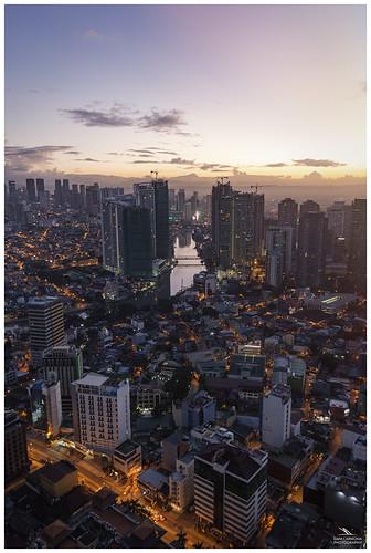 manila philippines sunrise skyscrapper city lights sky asia river canonflickraward