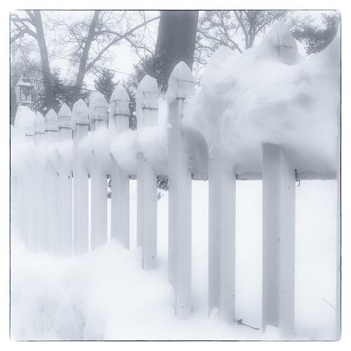 blackandwhite hipstamatic friday home fence snow eastbridgewater massachusetts unitedstates us