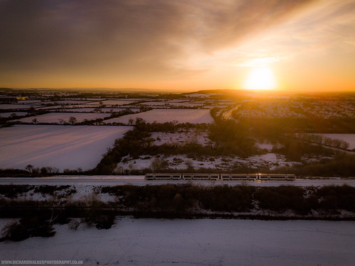 fields landscape nature bicester sunset train drone oxfordshire snow
