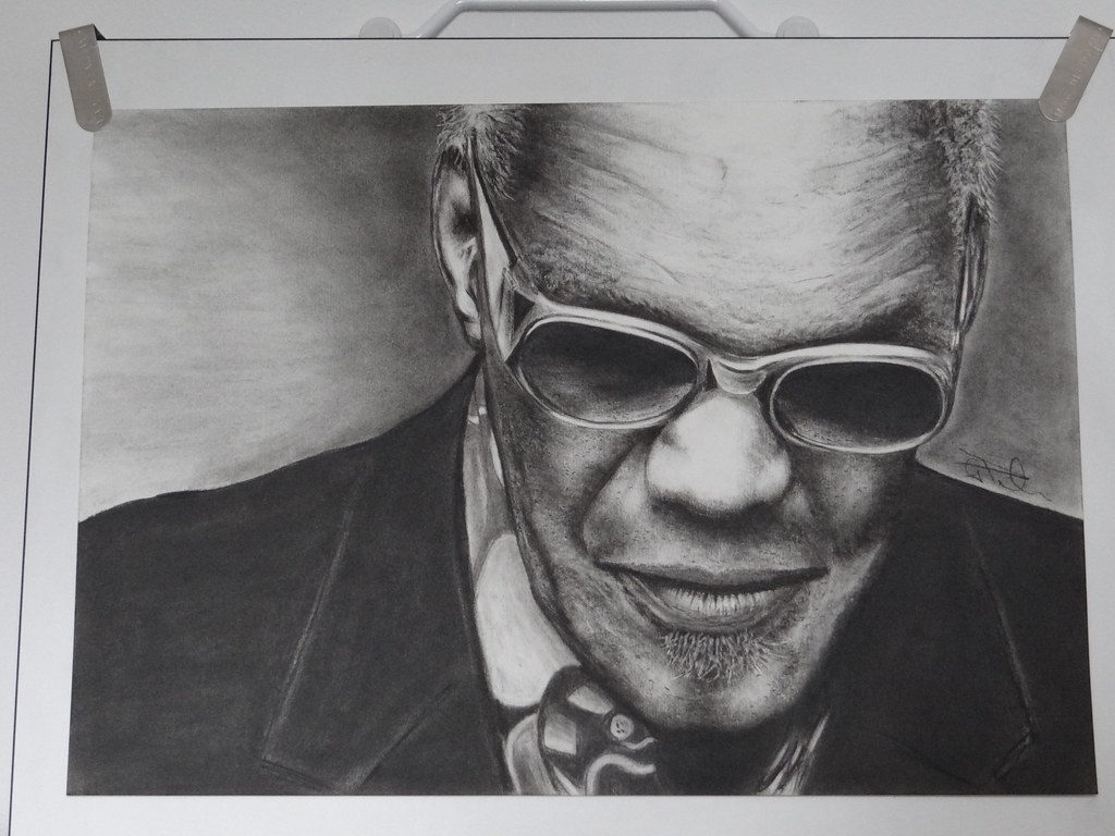 Ray Charles | Done in charcoal on A3 paper  www youtube com
