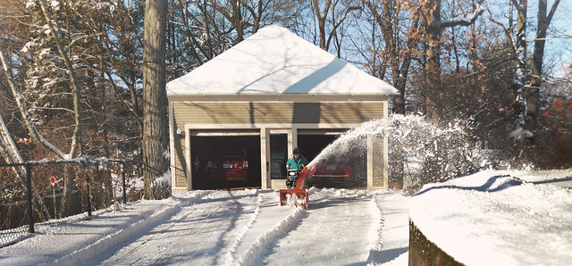 Mom snowblowing 22 Parker / Christmas Day; Wakefield, Massachusetts (2017)