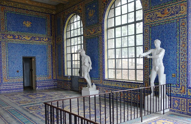 Marble sculptures at the entrance to the Roman Pool at the Hearst Castle