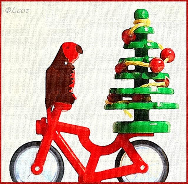 Bird on a Bike with a Christmas Tree
