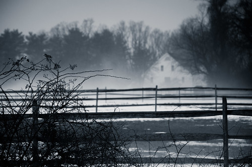 briburt nikon d90 newengland rural concord farm fence bw monochrome blackandwhite farmhouse massachusetts field branches wet moisture trees mist misty moody snow winter december country landscape snowy