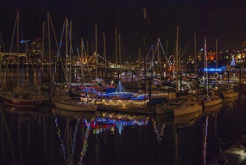 victoria bc canada britishcolumbia vancouverisland evening christmas harbor harbour dusk lights reflections reflecting