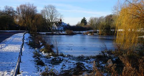willian pond pool village letchworth herts hertfordshire snow snowy frozen freezing ice icey december christmas scenic sun sunshine landscape gb england english britain british uk unitedkingdom