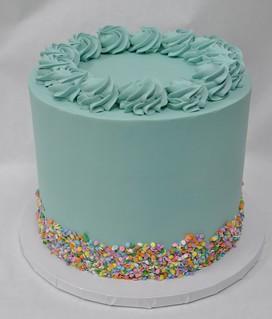 Outstanding Simple Mint Green Buttercream Cake With Confetti Sprinkles Flickr Personalised Birthday Cards Veneteletsinfo