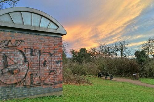 apple iphone se sunset milton keynes ouse pumping station clouds graffiti bench