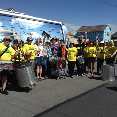 Samba band and library staff, New Brighton Christmas Parade 2017