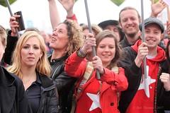 Lilian Marijnissen nieuwe partijleider SP. Hier tijdens 1 mei-viering in Amsterdam