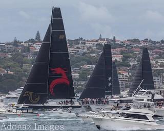 Rolex Sydney Hobart Yacht Race 2017-  Beau Geste powering down Sydney Harbour