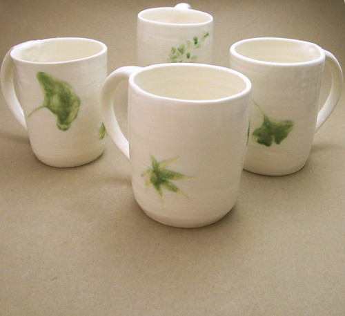 Leaf Impression Mugs | by Bridgman Pottery