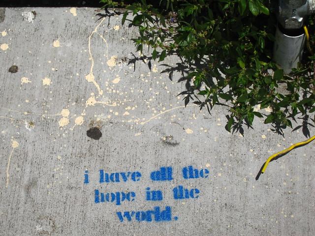 Sidewalk stencil graffiti