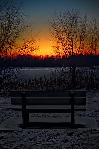 sunset bench winter snow lake ice darktable gimp pentaxart cc0