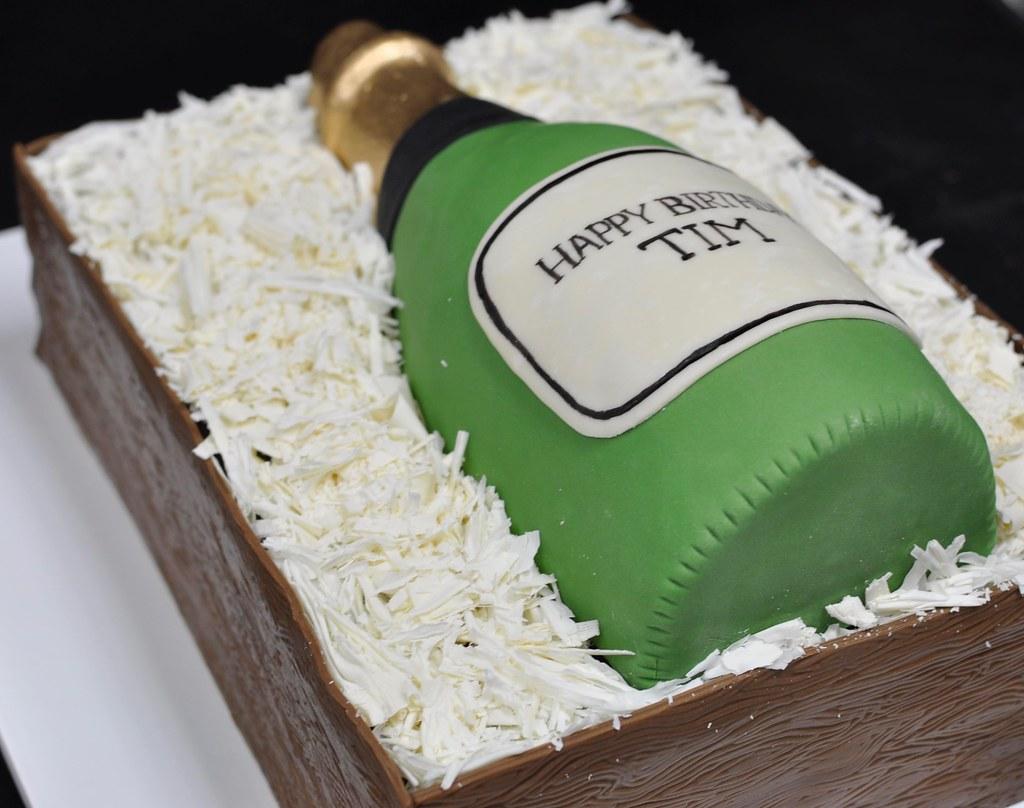 Surprising Champagne Bottle Birthday Cake Chocolate Cake Wine Crate W Flickr Funny Birthday Cards Online Unhofree Goldxyz