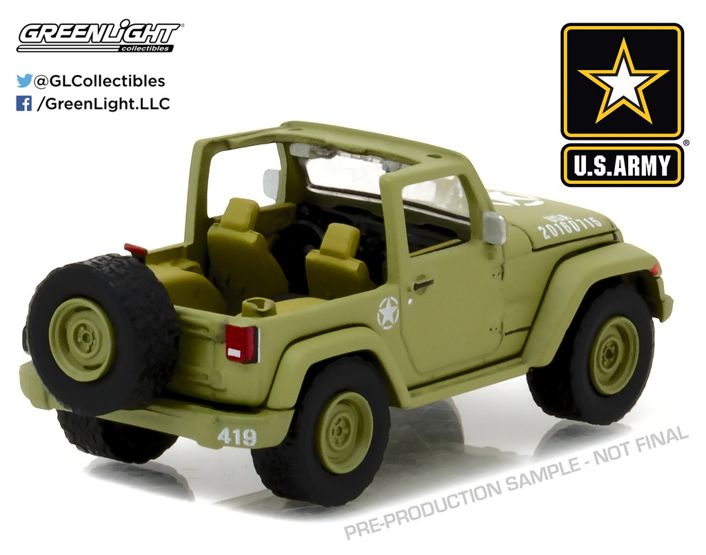 Greenlight Jeep Wrangler 2016 US Army 1//64 29884