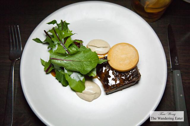Colorado lamb, panisse, eggplant, bitter lettuce