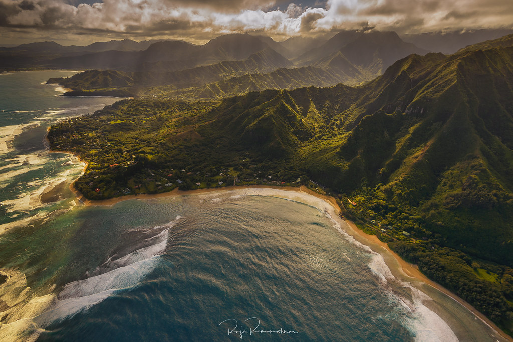 Hanalei Bay Ha Ena State Park And Ke E Beach Viewed From T