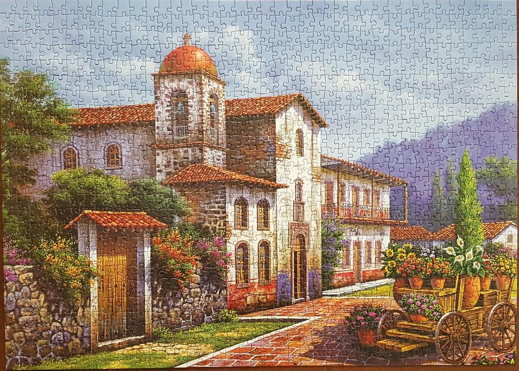 Flower Cart in Front of a Church by Arturo Zarraga [Jigsaw]