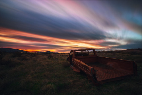 abandoned rusty old explore exploration desert pasco richland kennewick tricities washington sunset longexposure sky skyscape colorful clouds colors auto automobile automotive lost sony a6000 sonya6000 rokinon 12mm rokinon12mm
