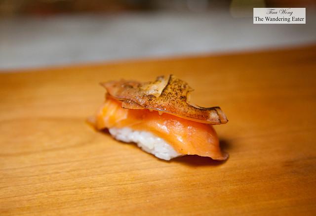 King Salmon, onion, seared tomato nigiri