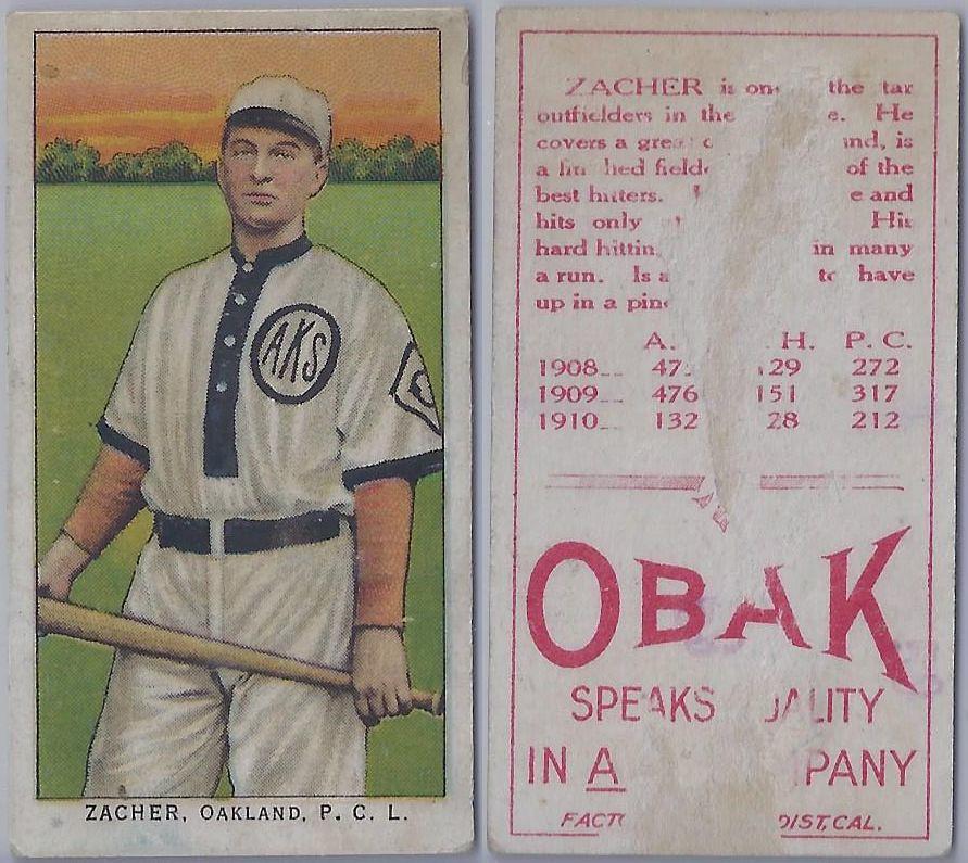 1911 T212 3 Obak Cigarettes Baseball Card Elmer Zacher Flickr