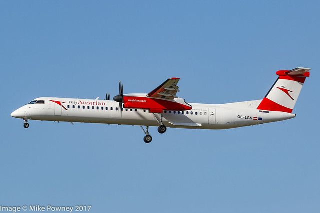 OE-LGK - 2009 build Bombardier Dash 8-402, inbound to Frankfurt displaying the short lived
