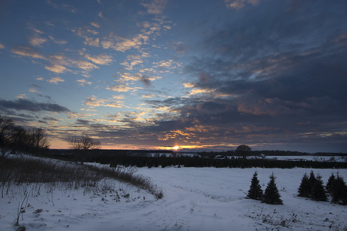 sunset winter landscape mohrsrd clouds snow trees silhouettes westcarletoncounty galetta january