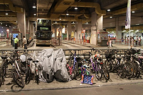 Rows of bikes parked at the bus interchange