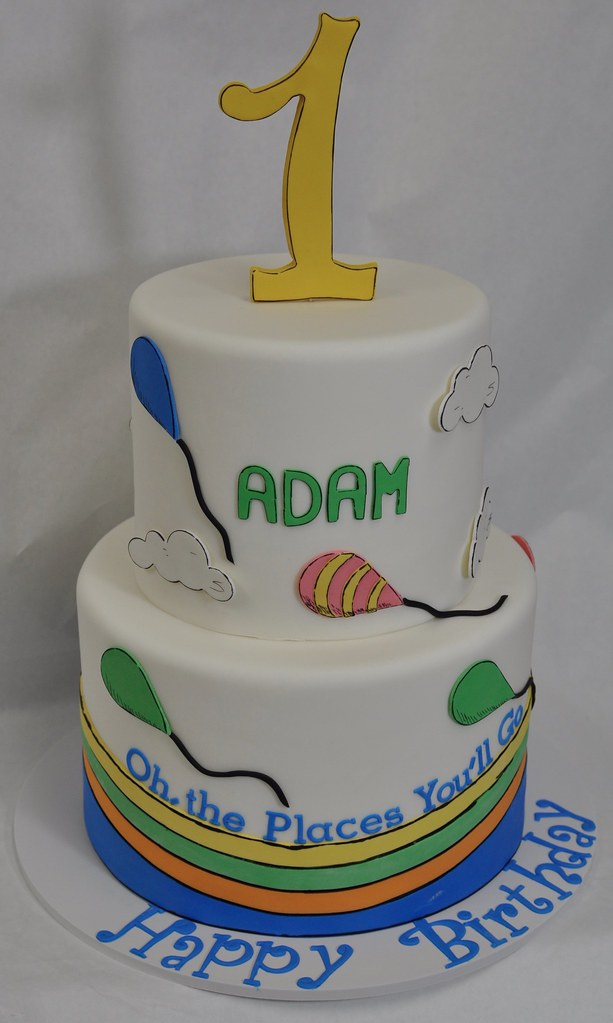 Cool Dr Seuss Themed First Birthday Cake Jenny Wenny Flickr Funny Birthday Cards Online Overcheapnameinfo