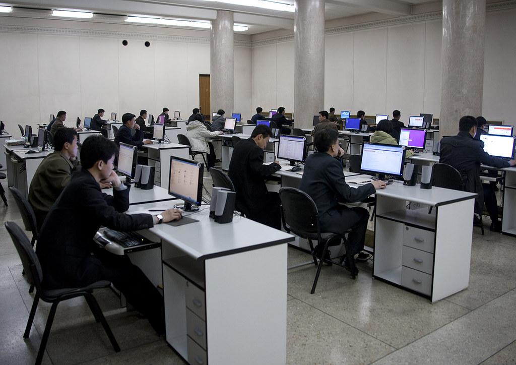 North Korean students using computers in Grand people's study house, Pyongan Province, Pyongyang, North Korea