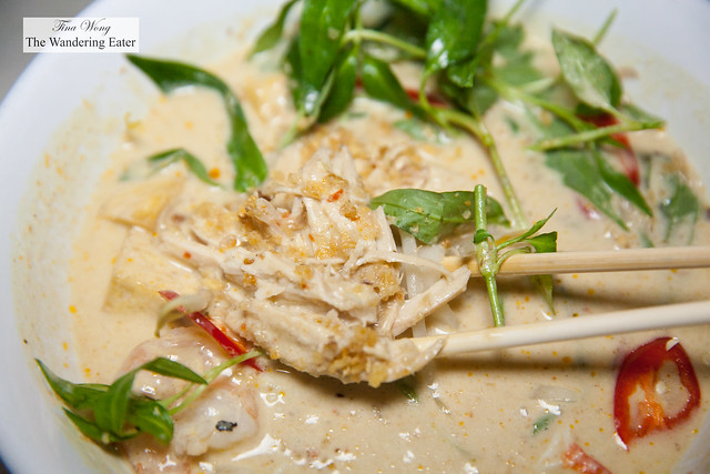 Coconut Curry Laksa, Shrimp, Crab, Rice Noodles, Thai Basil, Poached Chicken