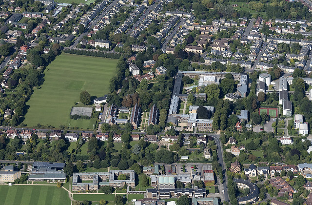 Cambridge University Fitzwilliam College - aerial view