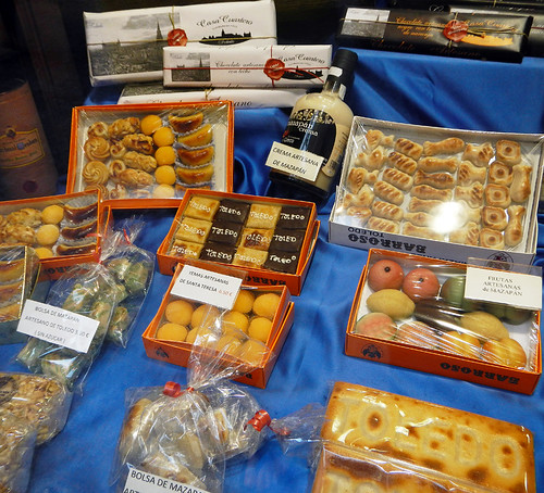 A range of Spanish sweets sold in Toledo, Spain: cakes, chocolate, marzipan and 'yemas artesanas'
