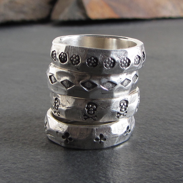 Stamped silver bands