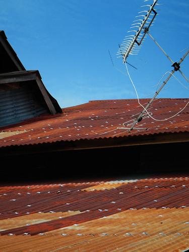 Rusting corrugated metal roof in Malaysia