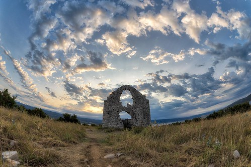 sunrise morning clouds outdoors noperson building church ruins sun adriatic krk croatia europe nikon nikond750 samyang1228 gazzda hrvojesimich
