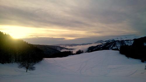 winter sunset slovakia donovaly snow fog mist