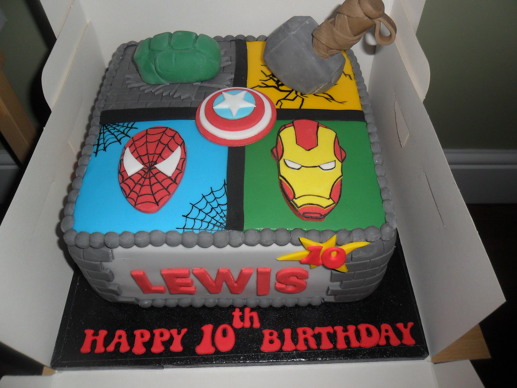 Super Thor Spiderman Iron Man Huld Marvel Birthday Cake Elizabeth Flickr Personalised Birthday Cards Cominlily Jamesorg