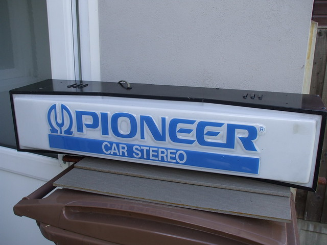 Vintage 1980's Pioneer Car Stereo Lighted Point Of Sale Advertising Sign