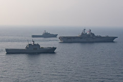USS Bonhomme Richard (LHD 6), the Royal Thai Navy's HTMS Angthong (LPD 791) and the Republic of Korea Navy's ROKS Cheon Ja Bong (LST-687) steam in formation during exercise Cobra Gold, Feb. 18. (U.S. Navy/MC2 William Sykes)