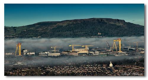 fog belfast skyline harlandandwolff shipyard cavehill belfastskyline blanketoffog hw samson goliath canon7dmkii northernireland