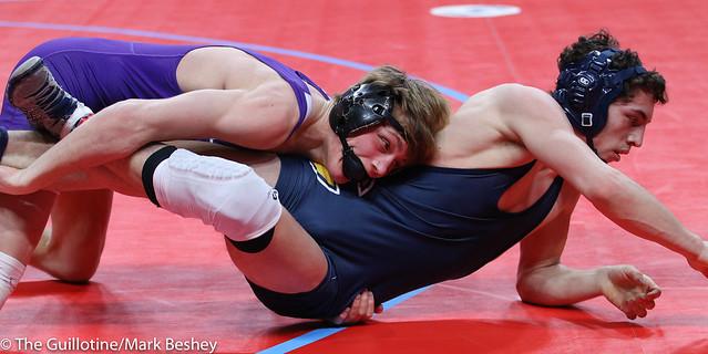 145A Semifinal - Brady Tweeton (Barnesville) 44-1 won by decision over Lukas Meier (Crookston) 36-9 (Dec 6-0) - 180303amk0042