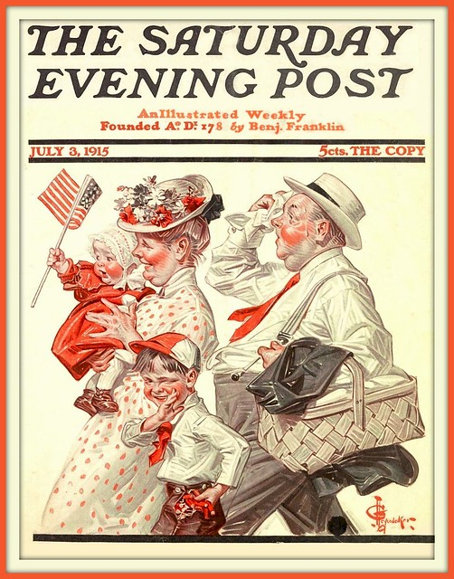 1915 JUly 3 -  Independence Day  Parade - 4th of July - The Saturday Evening Post - by Joseph Christian Leyendecker