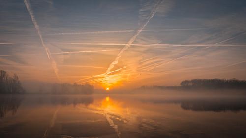 belgium sunrise lake hazewinkel heindonk