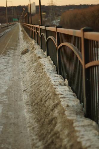 hff fencefridays fence snow bridge sunsetlight saintpaul minnesota supertakumar50mmf14