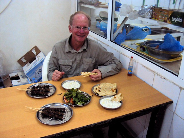 This is the best meal we had in Oman -- Australian beef with Bangladeshi parata by bryandkeith on flickr